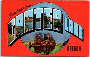 CRATER LAKE NATIONAL PARK Large Letter Postcard Oregon Multi-View KROPP Linen