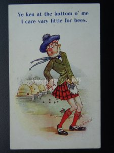 Scotland BEE KEEPING - YE KEN AT THE BOTTOM O' ME Old Comic Postcard D. Tempest