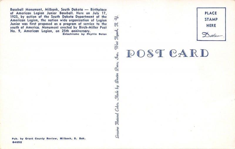 Milbank South Dakota~Legion Junior Baseball Monument~1950s Postcard