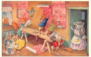 Post Card Old Vintage Antique The Paperhangers by Racey Helps