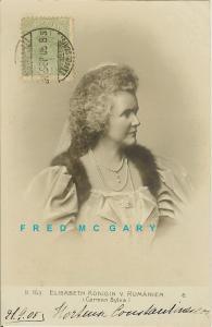 1905 Romania RPPC: Queen & Prize-Winning Authoress Elisabeth TCV