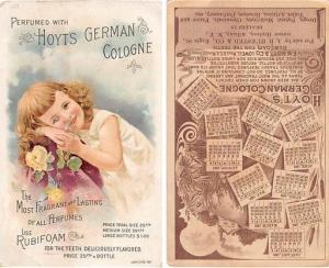 approx size inches = 3.5 x 5.5 Trade Card, Tradecard Calander 1891