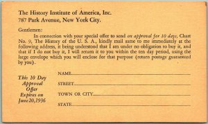 Vintage New York City Mail Order Adv. Postcard History Institute of America
