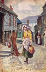 Girl Carrying A Cornish Pitcher In Bailey's Lane, St. Ives, Cornwall, 1907