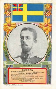 LP42 Gustav V Sweden Royalty  Royal Family Postcard Flag King