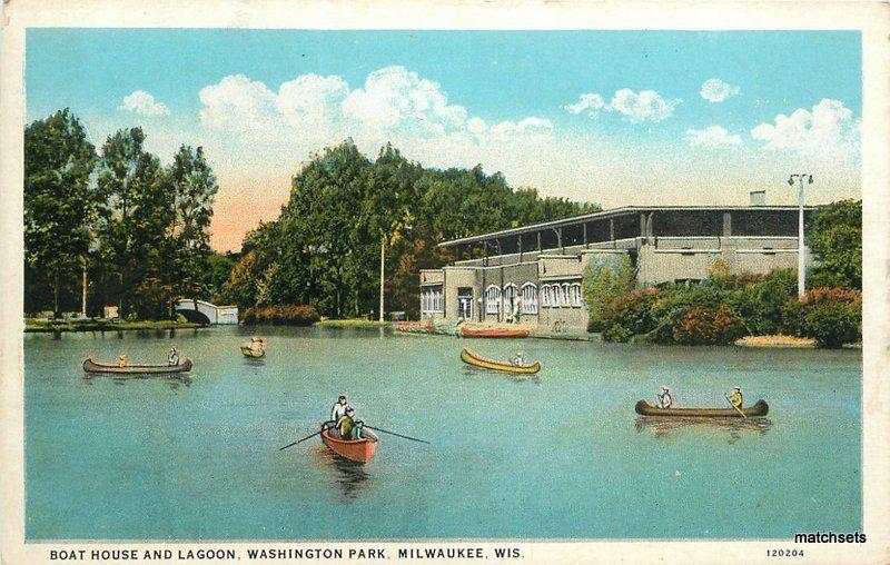Boat House Lagoon Washington Park Milwaukee Wisconsin Cook Teich postcard 10132