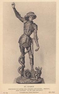 St George French Antique Statue Victoria & Albert Museum Exhibit Old Postcard