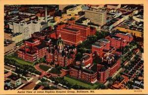 Maryland Baltimore Aerial View Of Johns Hopkins Hospital Group Curteich