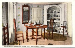 Massachusetts Duxbury John Alden House Built 1653 The Dining Room 1924 Curteich