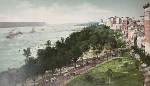 Hudson River and Riverside Park Drive Postcard New York 93rd St. NY