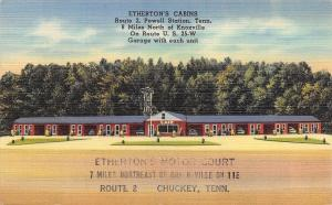 Powell Station Tennessee~Ethertons Cabins~Motor Court~Cafe~1940s Linen Postcard