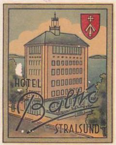 GERMANY STRALSUND HOTEL BALTIC VINTAGE LUGGAGE LABEL