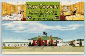 Cheyenne WY~Twin Chimneys Motor Court~US 30~Inside Out~Bedspreads~1950 Linen