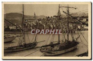 Old Postcard Boat Fishing Menton harbor and old town