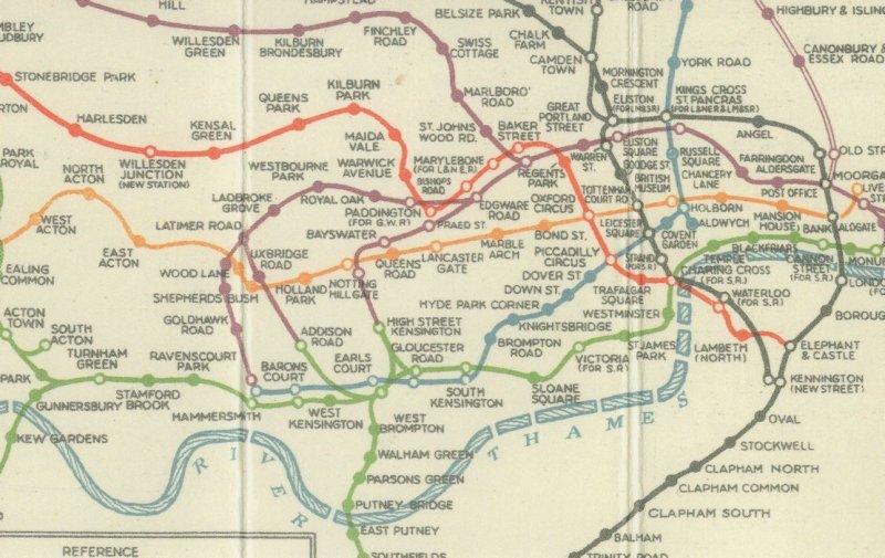 1920s Pocket Underground Tube Map of 1926 London Underground Postcard