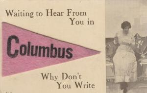 COLUMBUS, Ohio , 1913 ; Waiting for You, Why Don't You Write?, Felt Pendant