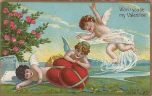 VALENTINE, PU-1913; Cupids frolicking with tied up red hearts, Rose Bush