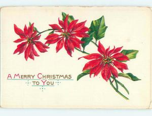 Divided-Back christmas THREE POINSETTIA FLOWERS o3898