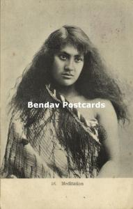 new zealand, Beautiful Native Maori Girl in Meditation (1904)
