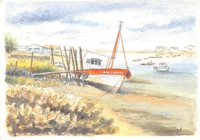 Boats Painting Paysage Ostreicole Aquarelle Originale D