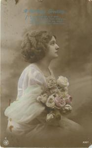 Vintage Colorized Real Photo Postcard~Lovely Lady~Bouquet Roses~London~1912 RPPC