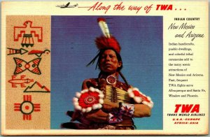 1956 TWA Airlines Linen Advertising Postcard New Mexico & Arizona Indian