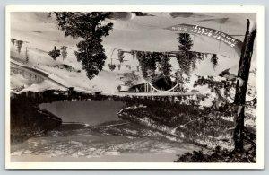 Summit California~Birdseye Donner Bridge & Lake in Deep Snow~1950 RPPC