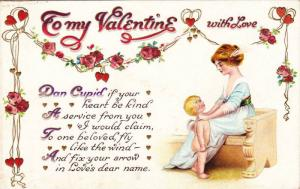 To my Valentine with Love, Woman with both hands on Cupid's shoulder gives in...