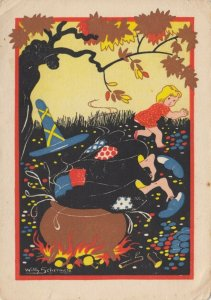 AS: SCHERMELE; 1920-30s; Hansel and Gretel, Gretel pushes witch into cooking pot