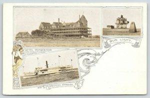 Boston Harbor Massachusetts~Hotel Pemberton~Bug Light~Steamer Myles Standish~'05