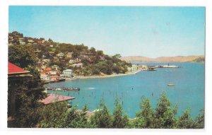 Marin County CA Hill View of Sausalito San Francisco Bay Vntg Gray Line Postcard