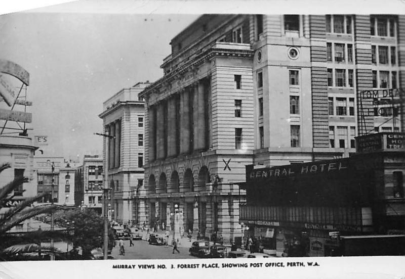 W.A. Perth, Murray Views No. 3 Forrest Place Post Office, Central Hotel, Cars
