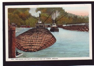 P1639 old postcard sea going log raft of 8,000,000 feet of timber, 2 boats harbo