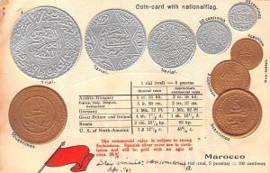 Coin Postcard, Old Vintage Antique Marocco