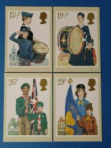 Set of 4 PHQ Stamp Postcards Set No.58 Youth Organisations 1982 CJ0