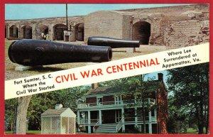 CIVIL WAR CENTENNIAL, FORT SUMTER, S.C. & APPOMATTAX, VA  SEE SCAN  PC55
