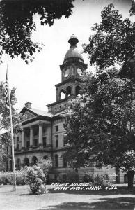 Paw Paw Michigan Court House Real Photo Antique Postcard K61885