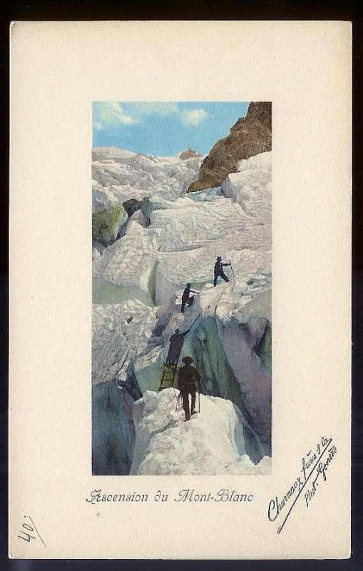 Climbing Mont Blanc Switzerland c1910 unused