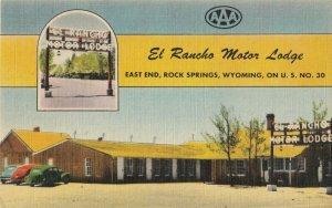 ROCK SPRINGS , Wyoming , 30-40s ; Lincoln Highway ; El Rancho Motor Lodge V-2