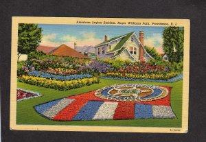 RI American Legion Emblem Roger Williams Park Providence Rhode Island Postcard