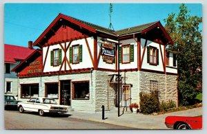 New Glarus Wisconsin~Roberts Rexall Drug Store~1960s Cars~Postcard
