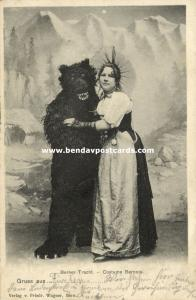 switserland, Woman in Bern Costumes with Brown Bear, Berner Tracht (1903)