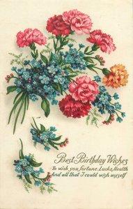 Postcard Greetings flowers bouquet birthday