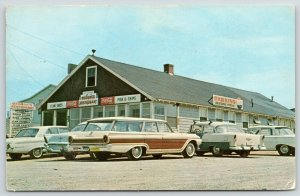 Galilee RI George's Restaurant~Clam Cakes~Coke~1960s Woody Station Wagon Close