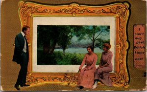 Vintage 1913 Post Card I CAN'T SUGGEST WHICH I LOVE BEST Man 2 Women Painting