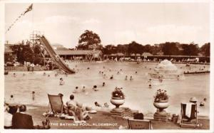 ALDERSHOT HAMPSHIRE UK~THE BATHING POOL PHOTO POSTCARD 1955 PSMK
