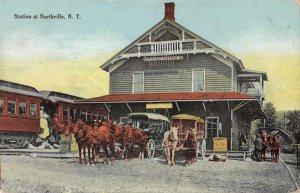 Northville New York Train Station Stage Coaches Vintage Postcard JJ658895