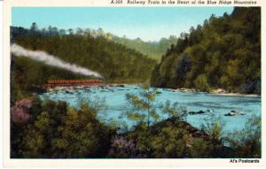 Railway Train in the Heart of the Blue Ridge Mountains, Unposted Postcard (A10)