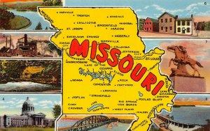 LP13   Missouri State Map Postcard