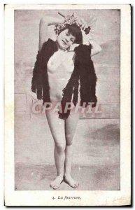 Postcard Old Woman Nude erotic Fur